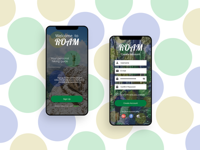 Welcome to ROAM - Daily UI 001 (Sign Up) daily ui 001 form sign up registration iphone mobile app ui