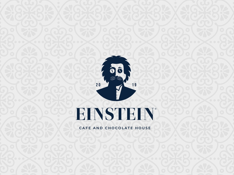 EINSTEIN cafe and chocolate house logo concept elegant simplistic ice cream chocolate coffee cafe enistein