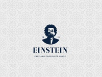 EINSTEIN cafe and chocolate house logo concept