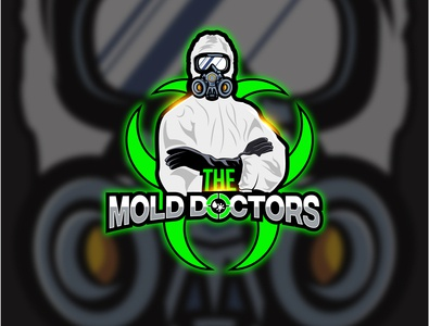 Mold doctors logo concept powerful crosshair water mask mascot doctors