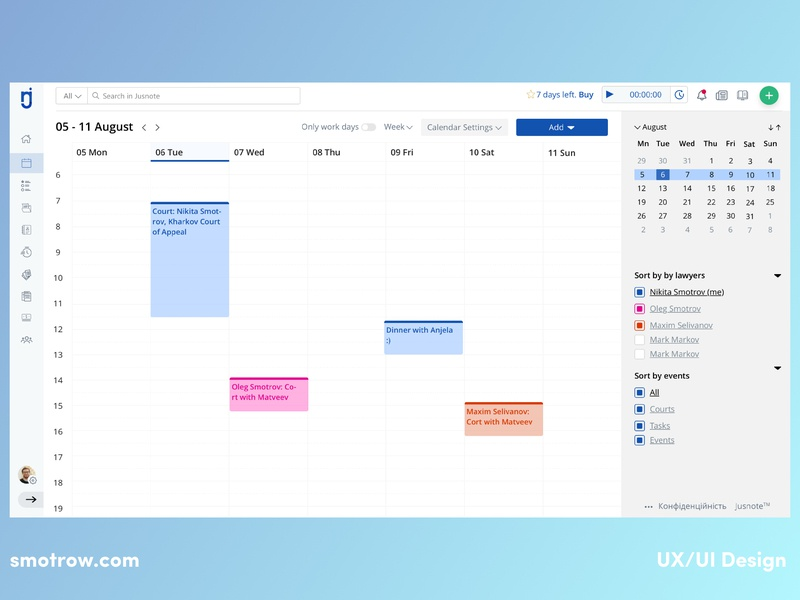 Modern Calendar - UX/UI Design uiux ux user ui shedule product design pallete meeting interface illustration events dashboard ui dashboad colored clean ui clean cards calendar app calendar app