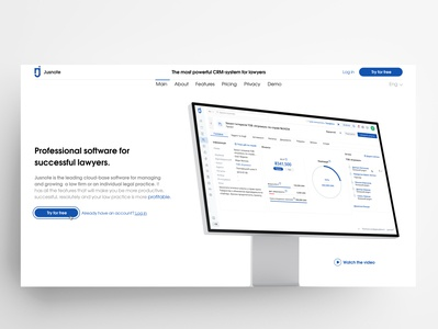 Legal Practice Management Software | Landing Page landing design try pricing website web illustration interface design design ui design uidesign ui  ux uiux ui software crm software crm landing page design landingpage landing page landing
