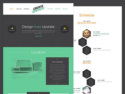 Create Upstate Website website conference design upstate ny gray green teal orange yellow gotham hexagon