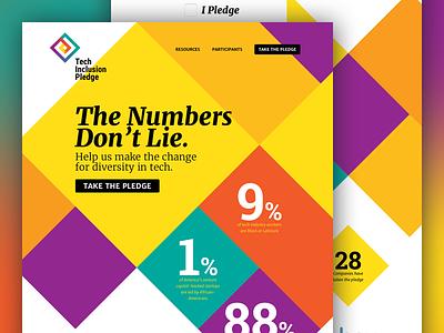 Tech Inclusion Pledge logo brand campaign diamonds website design atendesigngroup aten