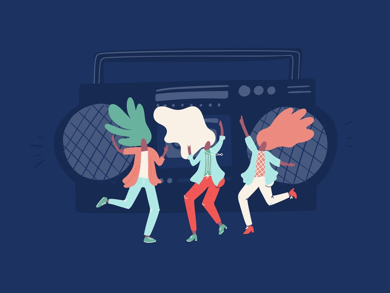 Vectorstock 21619008 house techno music dance music dance party outdoor festival groove dancer dancing dj tunes party disco speaker stereo hand draw retro vector vectorstock