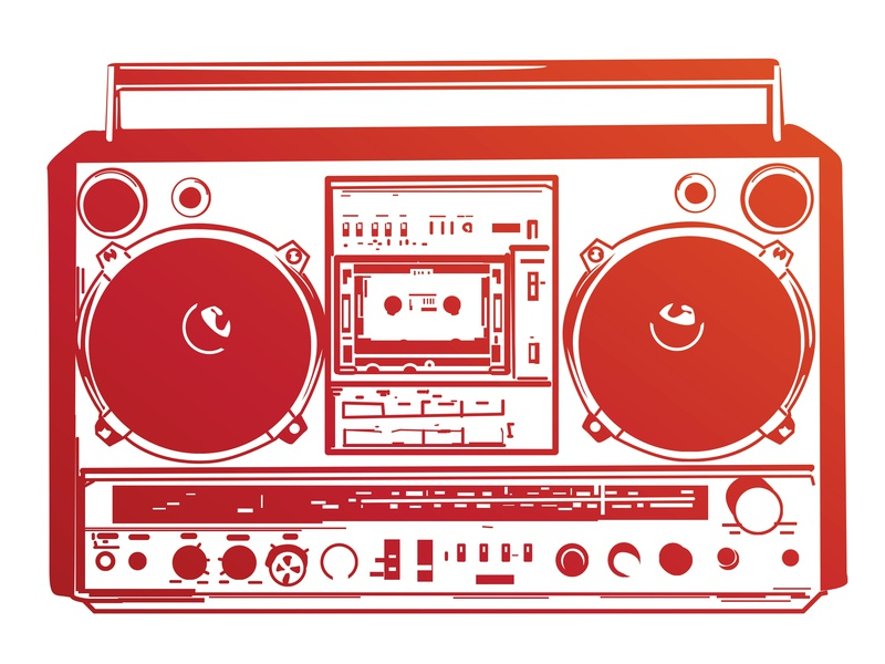 Vectorstock 111652 nyc street funky dj mix tape bass hip hop audio tape cassette ghetto blaster ghettoblaster stereo radio boom box vintage logo retro illustration vector vectorstock