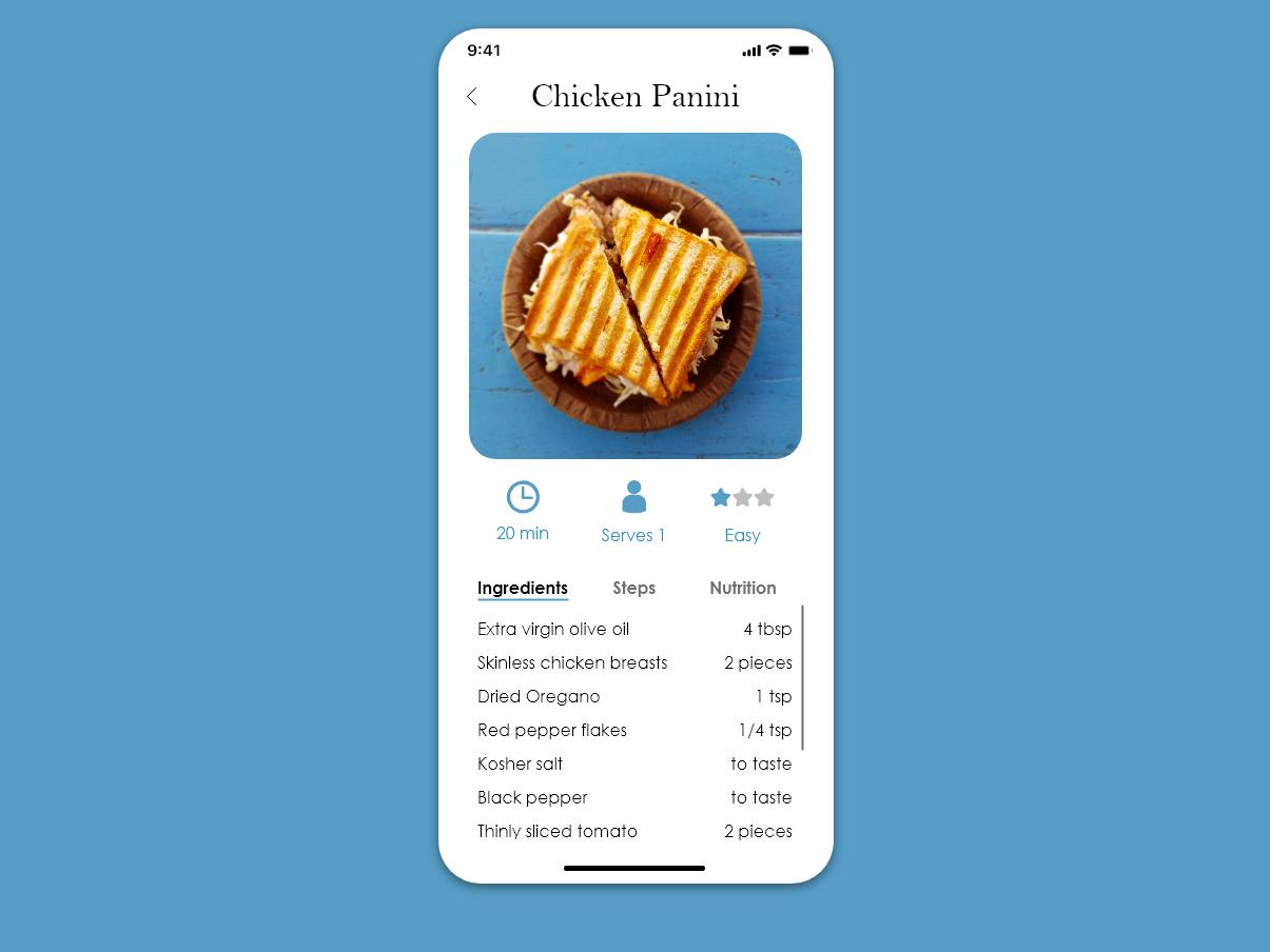 Daily UI #40 - Recipe adobe xd mobile app ui design dailyui