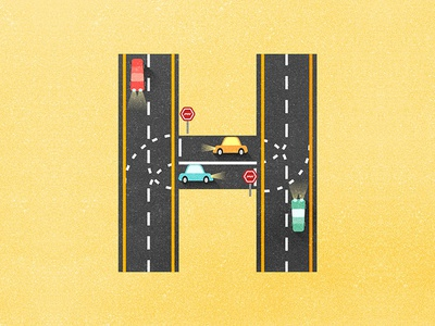 36 days of type - H crossroad yellow cars car highway 36daysoftypeh 36daysoftype