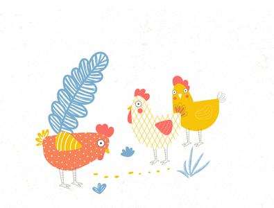 farm creative cartoon design card design hen farm character cartooning flat vector illustration