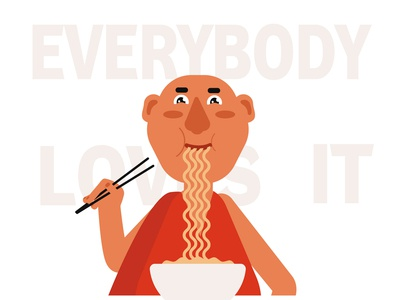 Monk eating noodles and he is  very happy