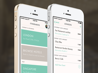 Travel App – Itinerary List & Itinerary View