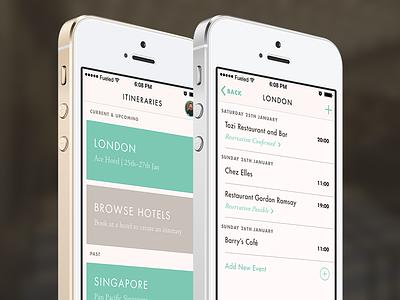 Travel App – Itinerary List & Itinerary View hotel itinerary travel ios ios7 app futura garamond