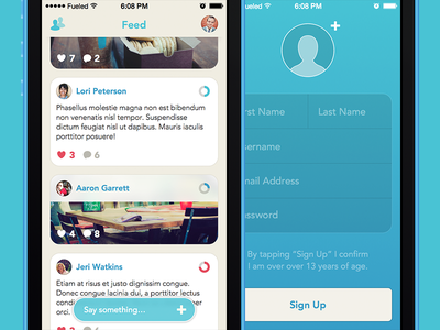 Plate App | Feed & Profile Creation profile feed social network signup app iphone ios