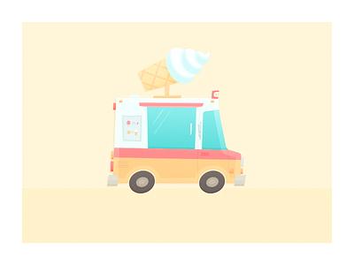 Two Hour Design Challenge cartoon cream flat truck ice cream illustration