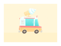 Two Hour Design Challenge cartoon cream flat truck ice cream illustration