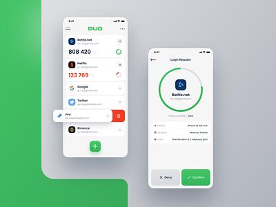 DUO | Authenticator app redesign concept concept mobile ui authenticator secure mobile design app