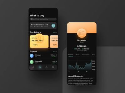 Cryptocurrency wallet app crypto concept design app blockchain wallet cryptocurrency app design ui animation animation ui design mobile app mobile ui mobile dogecoin doge