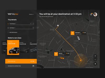 Taxi desktop app design concept design app concept ui uxui web map ux taxi app taxi booking app taxi interface dark theme dark ui location ride