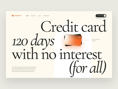 Betabank - Credit Card Product Page web design typography layout promo ux website web animation ui concept design