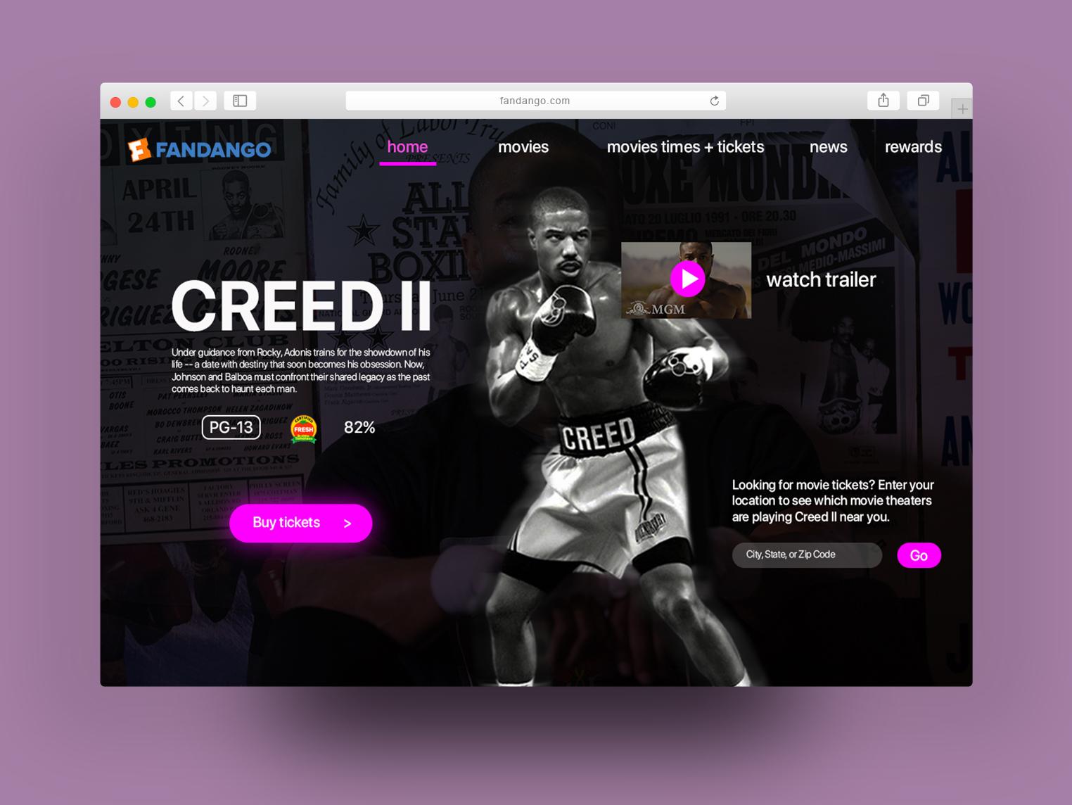 Movie Tickets Site Home Page Safari Browser ux web branding ui design