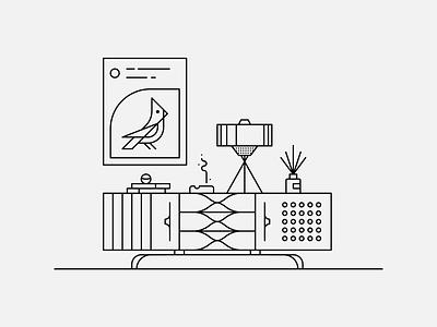 Work From Home Warmup warmup minimal white black stroke bird vignette lamp dresser console sideboard credenza retro line geometry illustration illustrator