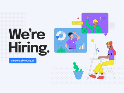 We're Hiring. obviouslyai machine learning ai join our team now hiring were hiring ui design geometry color illustration illustrator