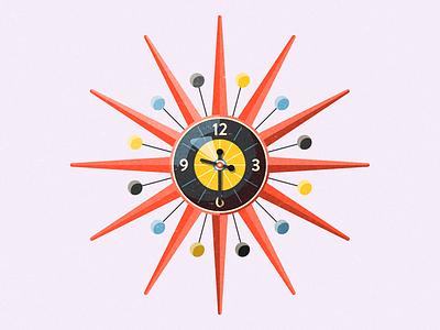 Sunburst george nelson mid century modern sunburst clock elgin orange geometry color time illustrator photoshop vintage retro