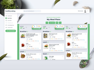 Meal Planning Web App Design healthy living healthy food planner meal healthy eating calorie calculator