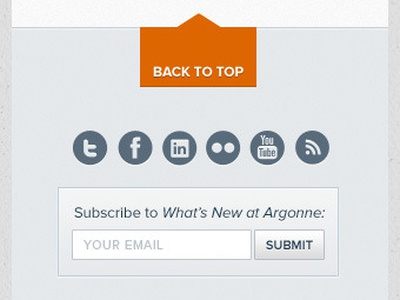 Portable Footer subscribe social back to top footer mobile