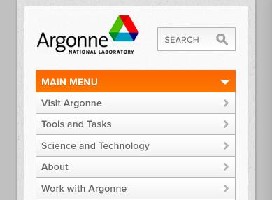 Mobile site menu, expanded menu iphone