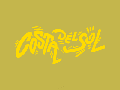 Costa del sol typography lettering writing handcraft calligraphy 2d simplicity watch and draw netflix series show ya andalusia spain happy place yellow costa del sol
