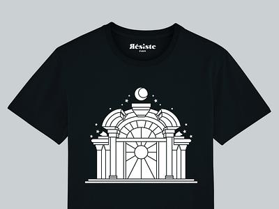 T-shirt - Serigraphy Montmartre design graphic blackandwhite temple church stainedglass shop cotton organic bio montmartre serigraphy brand paris resiste tshirt
