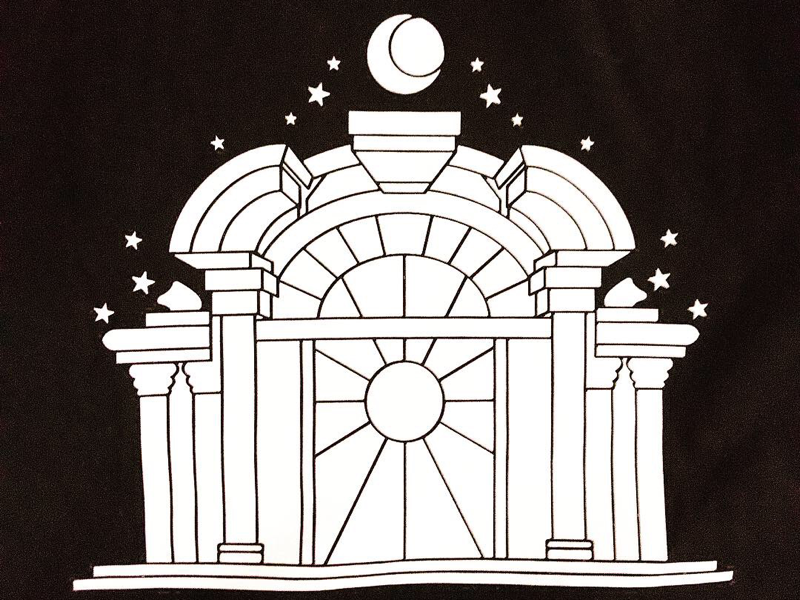 Stained Glass Style wear print blackandwhite serigraphy church stained glass motif illustration visual clothing brand apparel