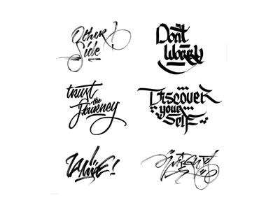 Handwriting with different tools