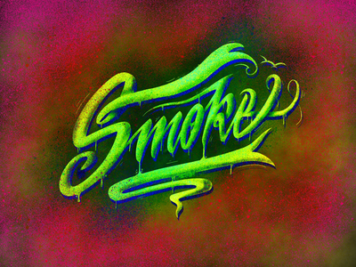 Smoke typography type lettrage letters lettering handwriting handcraft calligraphy texture green smoky smoke
