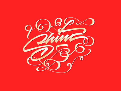 Shine typography type lettrage letters lettering writing handcraft calligraphy texture peint inspiration shape round nature flourished drawing subtle red gold shine