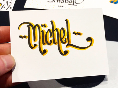 Michel pen cant cardboard yellow box offer words fnac workshop name michel calligraphy