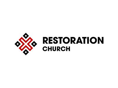 Restoration Church type logo design brand brand design graphic design church logo shapes vector illustration branding logo icon typography design avantgarde