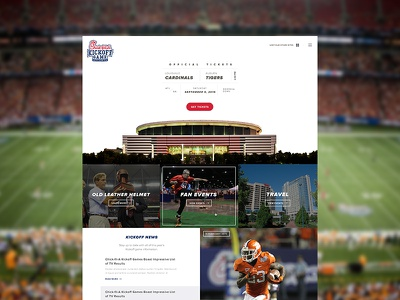 Kickoff Homepage ux football ui ticket minimal header hero web