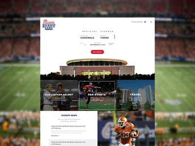Kickoff Homepage ux football ui ticket minimal header hero web