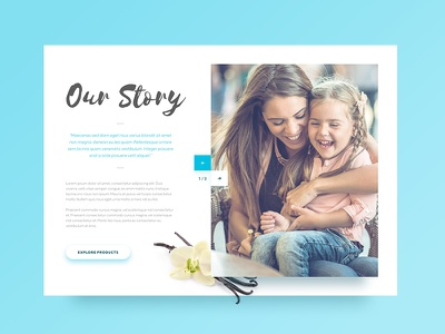 Our Story typography clean shadow minimal blue flat color ux ui web
