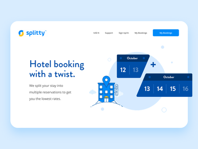 Splitty hero minimal blue web illustration ux ui home splitty