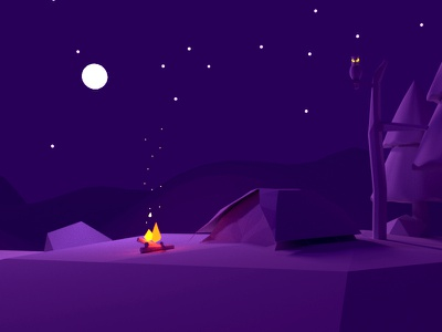 Camping minimal moonlight low poly camping fire camp