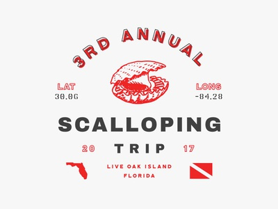 3rd Annual Scalloping Trip scallop dive illustration typography print badge