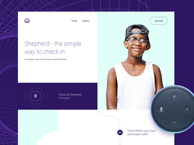 Shepherd hackathon minimal purple ux landing page amazon dot ui app