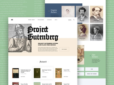 Project Gutenberg gutenberg ux ui bold type minimal layout book typography