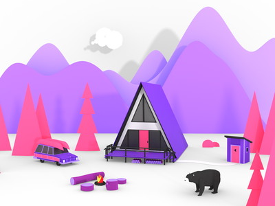 Mountains low poly paper popup book mountains 3d