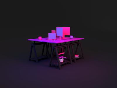 Desks @FullStory clean interior design illustration minimal 3d