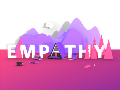 Empathy low poly illustration 3d