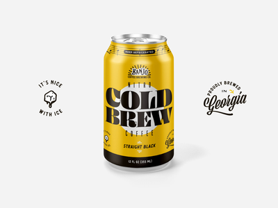 Banjo Nitro Cold Brew Coffee Can layout branding coffee can design typogaphy